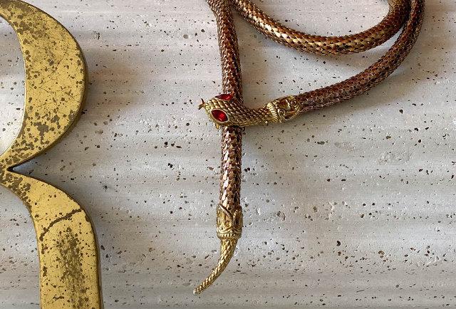 vintage mesh snake wrap necklace