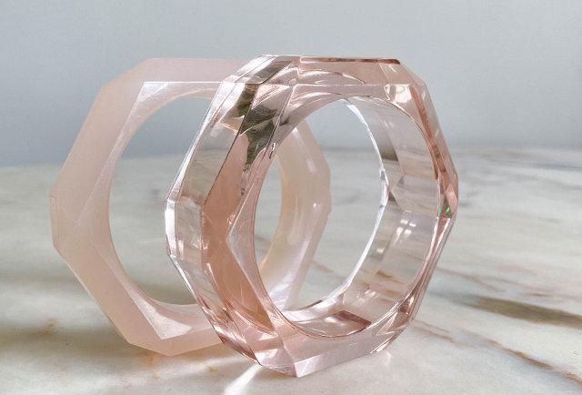 bracelets joncs vintage resine transparente