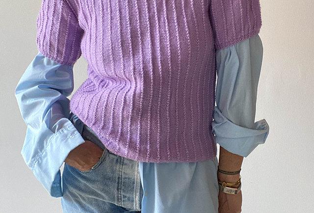 pull fait main vintage couleur lilas | manches courtes