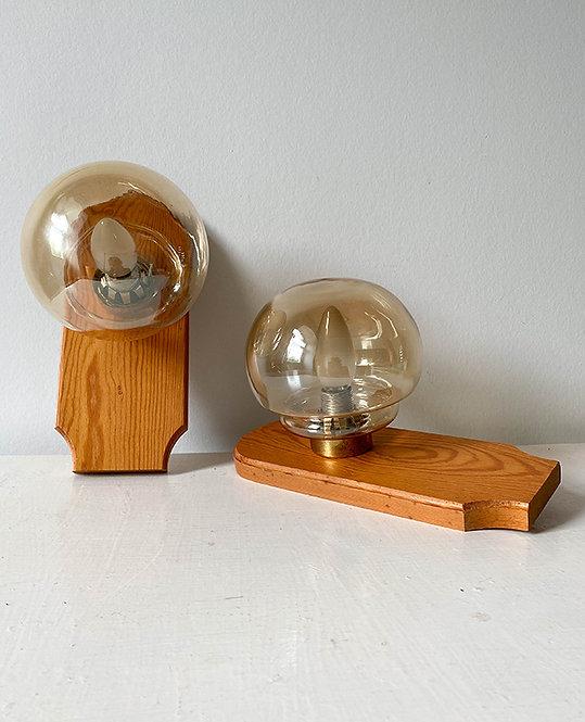 paire appliques vintage pin globe ambre