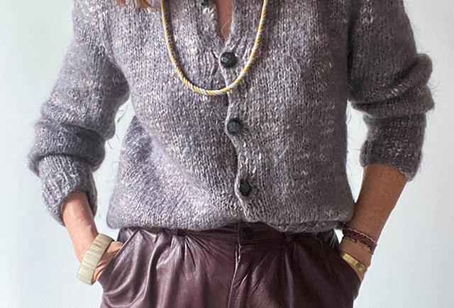gilet laine chine mauve tricote main vintage
