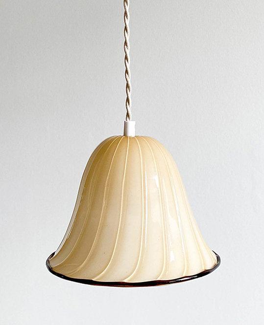 suspension globe vintage opaline beige