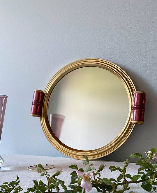 ancien plateau rond fond miroir