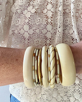bracelet jonc torsade ivoire fil dore hi
