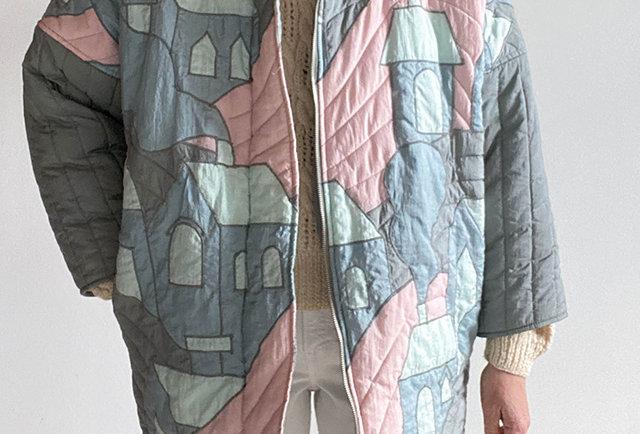 veste matelassée vintage 80 tons pastels