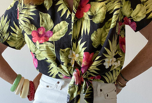 chemise femme imprime fleur tropical | vintage France