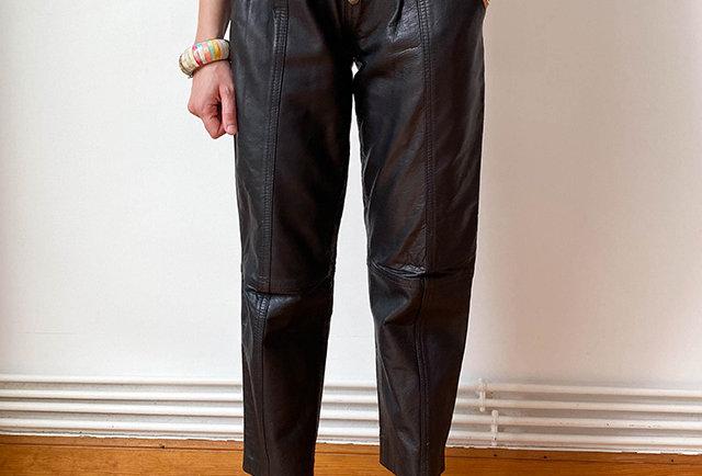 pantalon cuir vintage taille haute | hier store