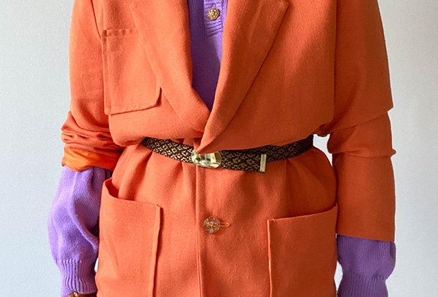 blazer fait main vintage 80 orange   Hier Store