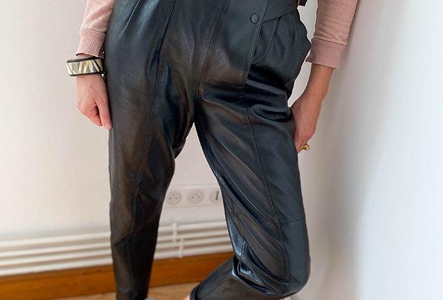 pantalon en cuir vintage taille haute   Hier store