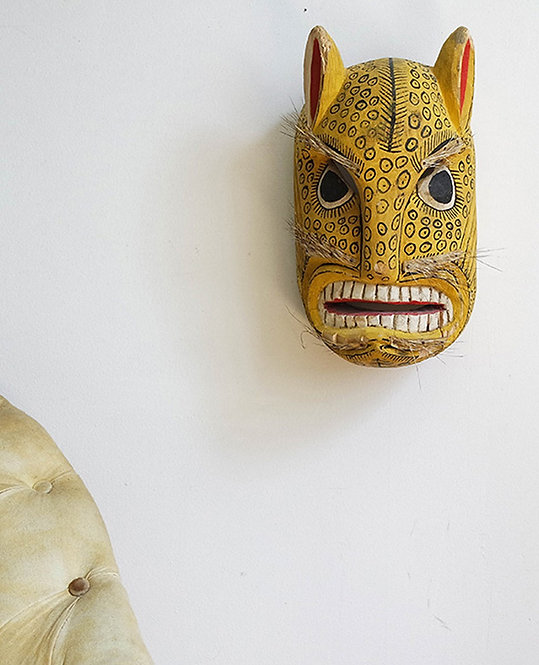 trophée tête leopard bois  artisanat africain