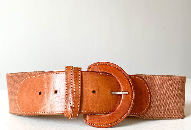 ceinture large cuir marron vintage | hier Store
