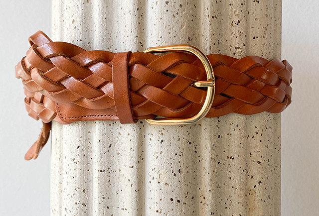 ceinture en cuir naturel tressé | made in france
