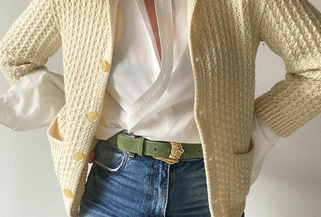gilet laine ecru type irlandais tricote main