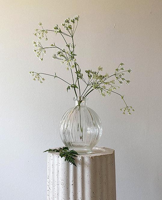 vase forme boule en verre vintage