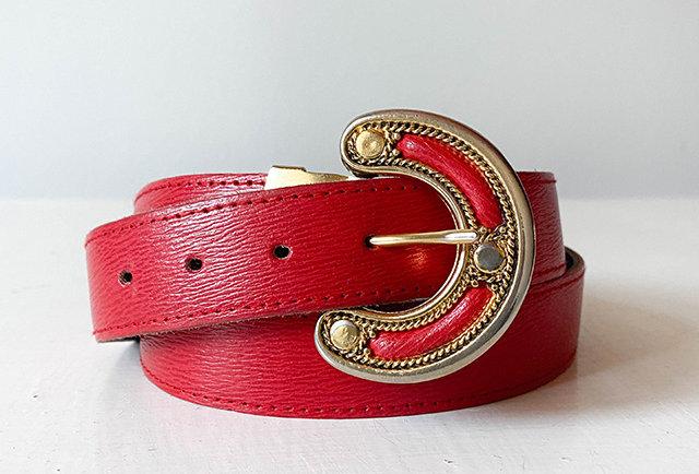 ceinture vintage cuir rouge