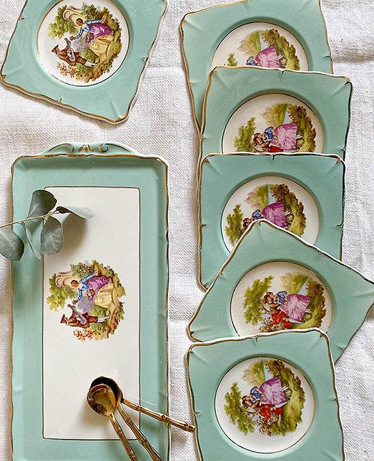 assiette dessert carre Fragonard vintage