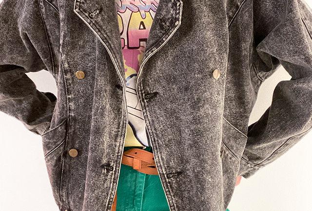 blouson jeans neige gris vintage 80s