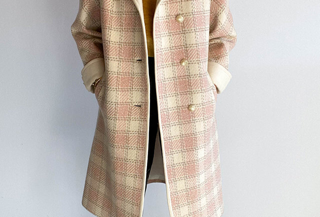 manteau carreaux vintage rose pale
