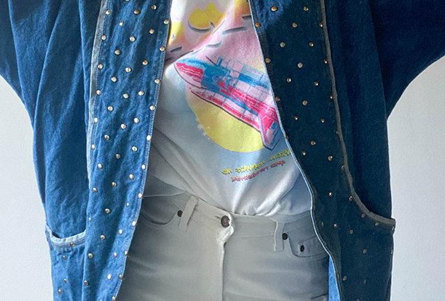 veste jean oversized clouts vintage | Hier Store
