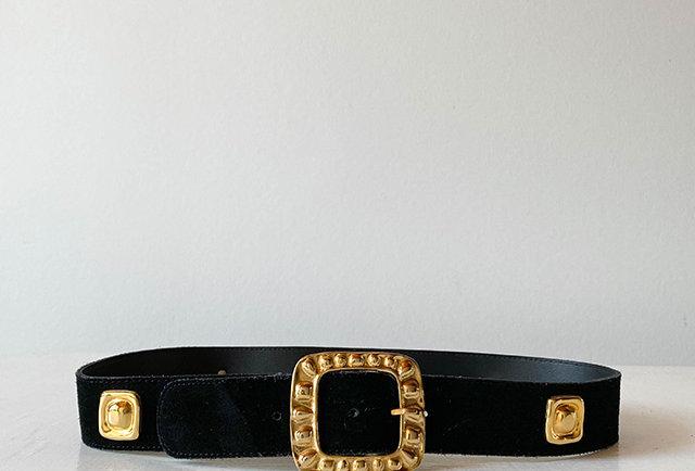 ceinture daim noir boucle dorée | vintage France