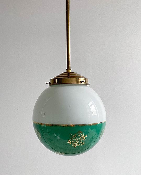 suspension globe vintage opaline vert blanc