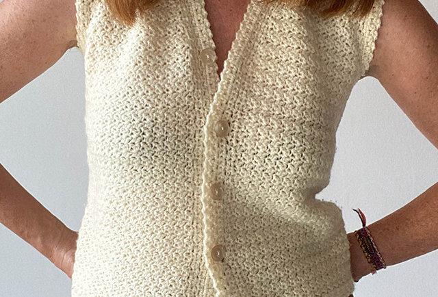 gilet laine écru crochet main vintage   Hier Store