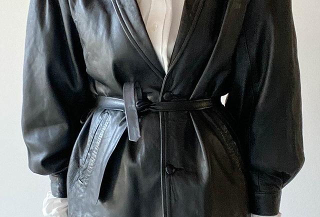 blazer cuir vintage epaulettes 80s