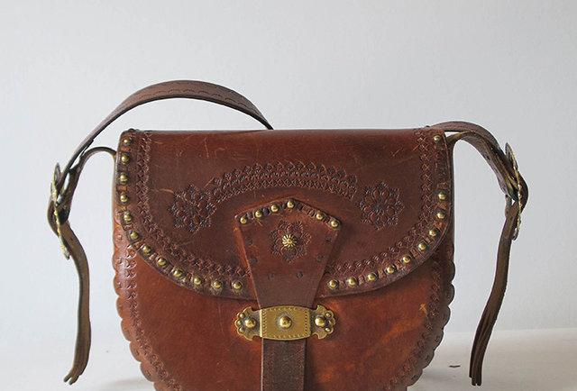 sac cuir vintage 1970 | Hier Store