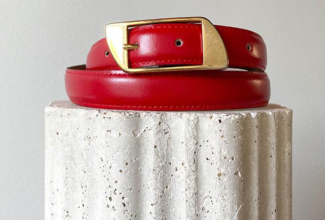 vintage leather red belt | Made in France
