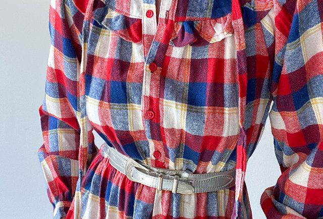 robe longue carreaux tricolore | vintage france