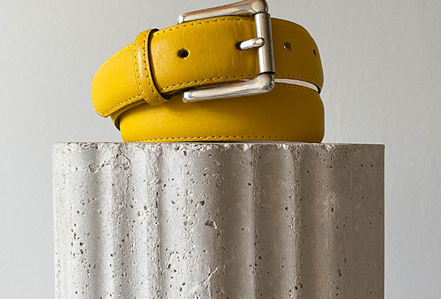 ceinture fine en cuir jaune | Hier Store