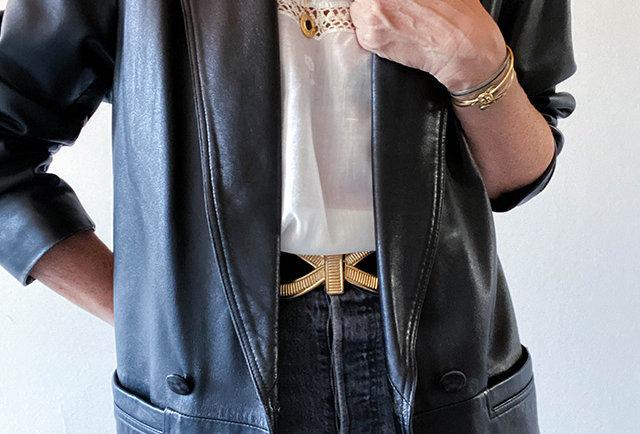 veste blazer cuir vintage | Hier Store