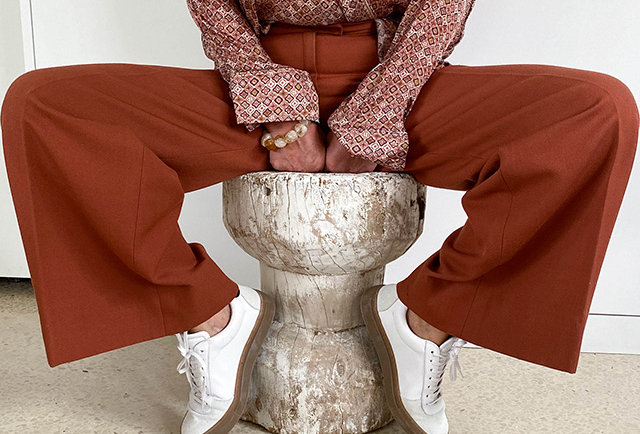pantalon taille haute vintage 70