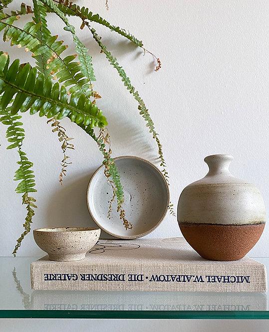 ensemble bol et vase gres chamotte artisanal
