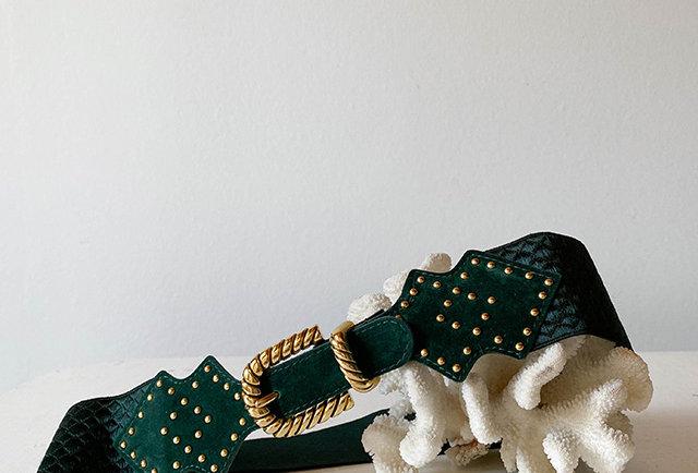 ceinture élastique vert vintage France