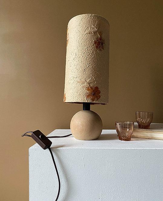 lampe vintage pied boule bois