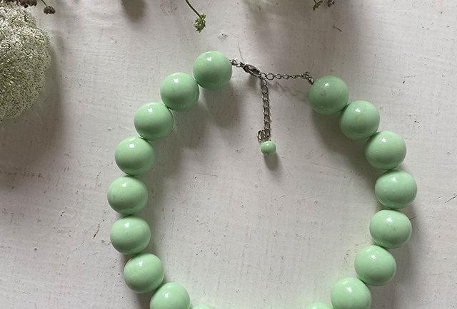 collier vintage grosses perles vert eau