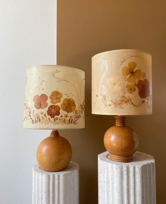 lampes chevet vintage 70 abat jour herbier   lovmint