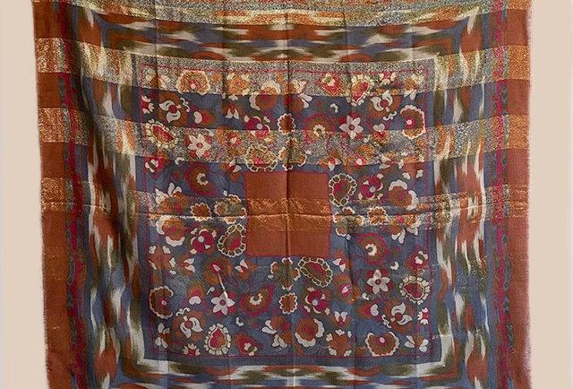 grand carre laine vintage lurex dore