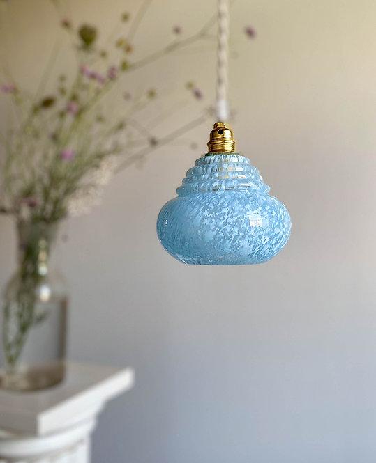 suspension globe bleu moucheté verre Clichy
