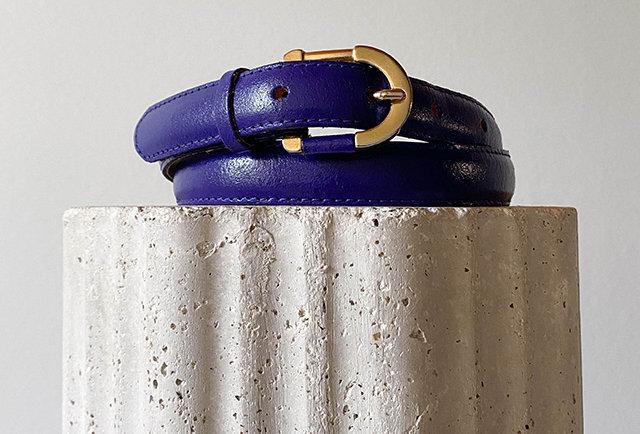 ceinture cuir vintage couleur violet