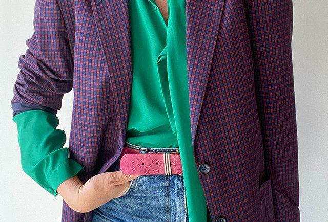 veste à carreaux écossais vintage