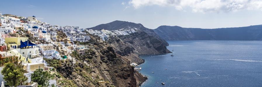 Panorama of the coast of Santorini