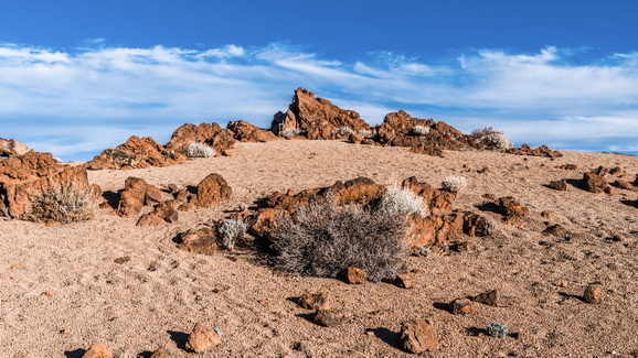 Desert landscape under blue sky