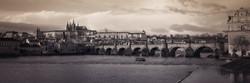 Panorama of Charles bridge in vintage st