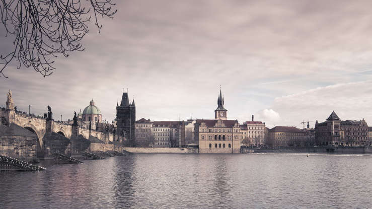 Vintage panorama of Charles bridge