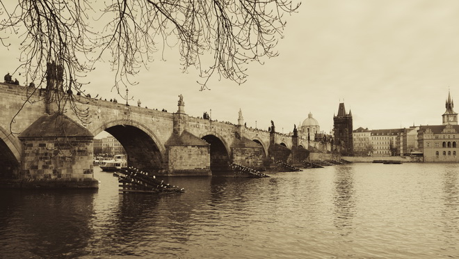 Panorama of Charles bridge in vintage st