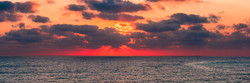 Red sunset at the Mediterranean sea