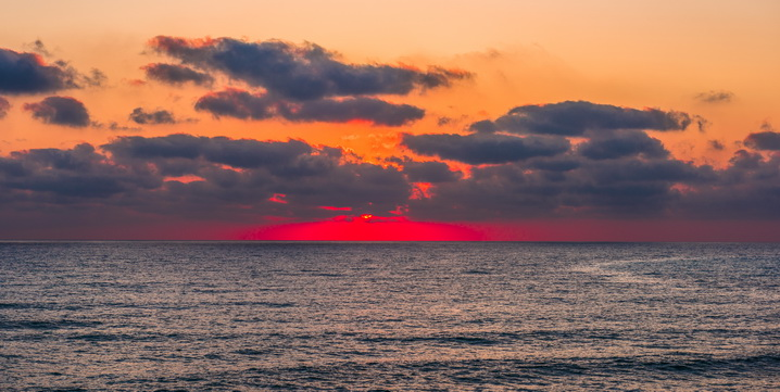 The red strip of sunset