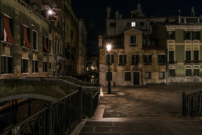 Deserted area of Venice at night